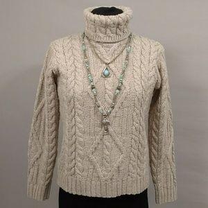 Irish Turtleneck Sweater Linen Heather Neutral Clr